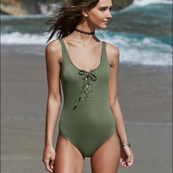 dec03d15b2 PacSun Swim | Nwt Green Laceup One Piece Suit | Poshmark